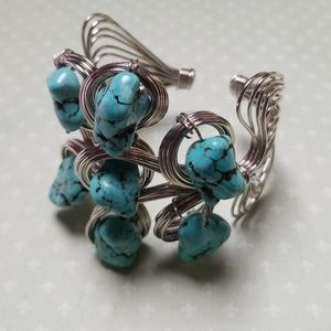 Stunning Turquouse Wire wrapped Statement Cuff